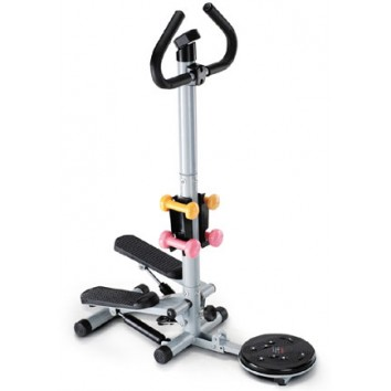 Stepper with Dumbells & Twister